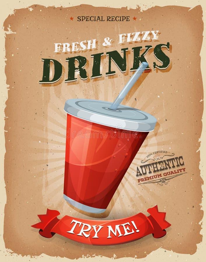 Grunge- och tappningdrinkar och dryckaffisch stock illustrationer