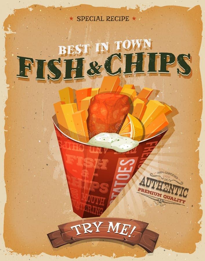 Grunge och tappningfisk och Chips Poster royaltyfri illustrationer