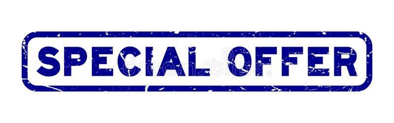 Grunge oferty specjalnej kwadrata błękitna pieczątka na białym tle ilustracja wektor