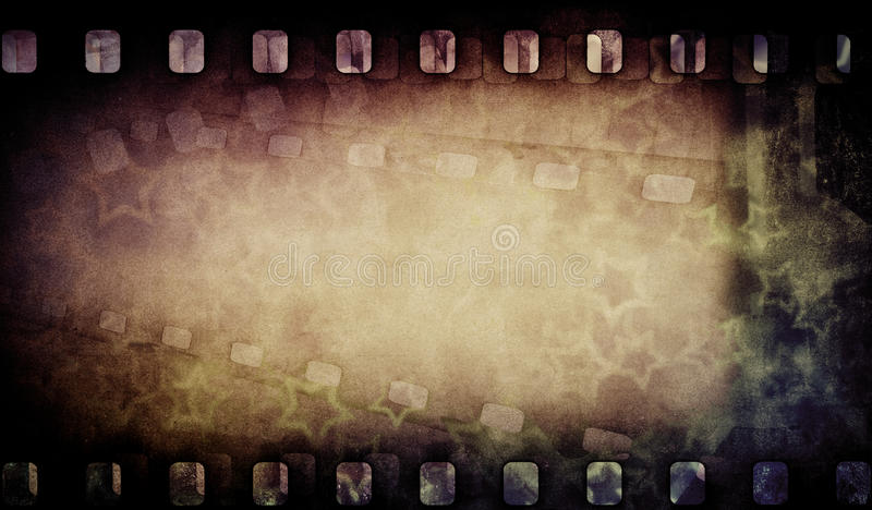 Grunge old film strip with stars. Vintage stock images