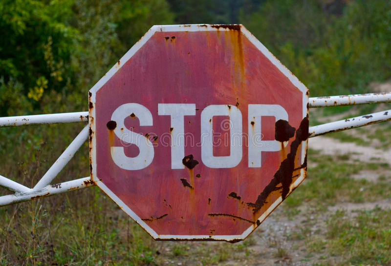 Grunge old stop traffic sign royalty free stock photo