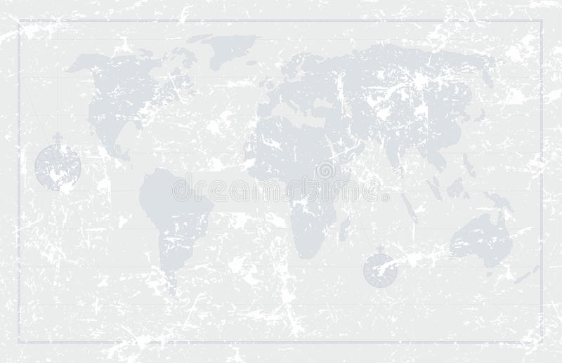 Grunge old world map background, vector stock image
