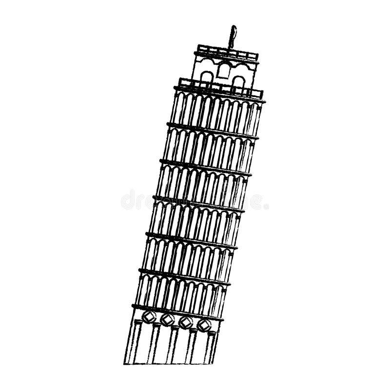 Grunge oparty wierza Pisa budynku historia royalty ilustracja