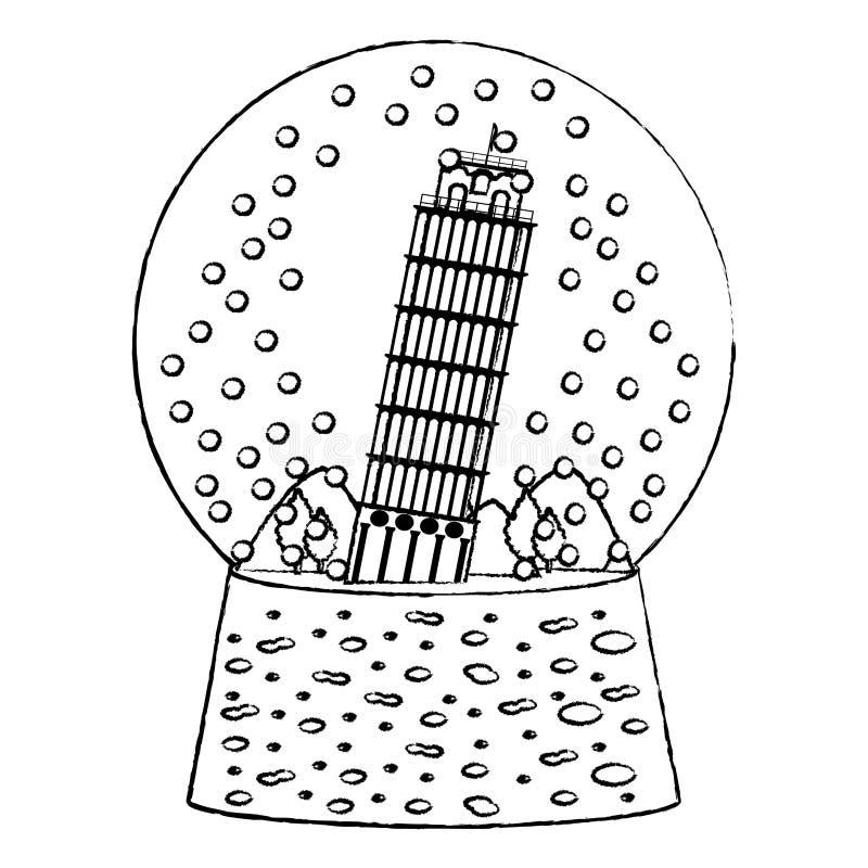 Grunge oparty wierza Pisa wśrodku śnieżnego szkła ilustracji