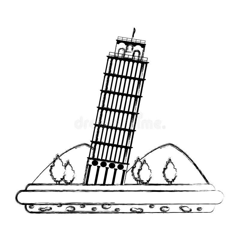 Grunge oparty wierza Pisa z górami i drzewami ilustracji