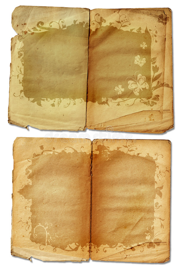 Grunge open book pages stock illustration