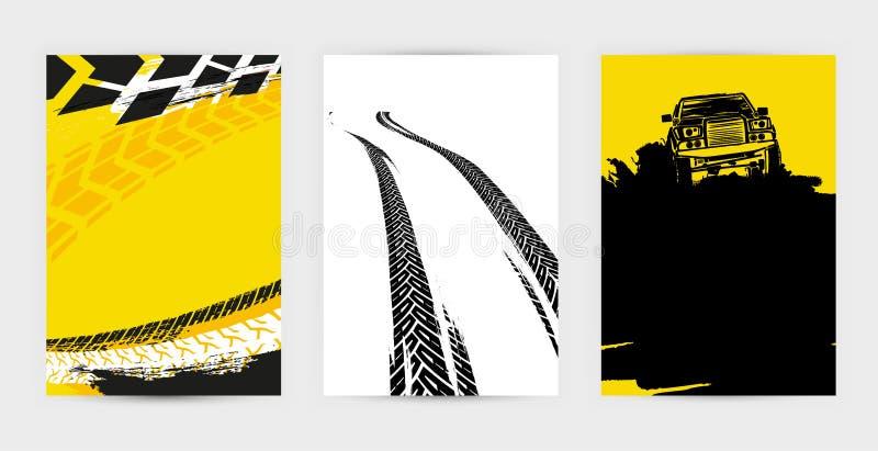 Grunge opony plakaty Ustawiają 17-18 ilustracja wektor