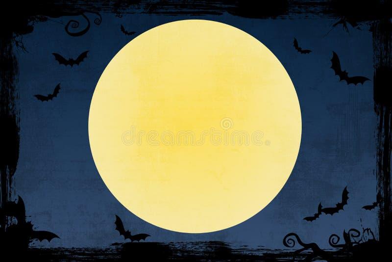 Grunge blue Halloween background with bats vector illustration