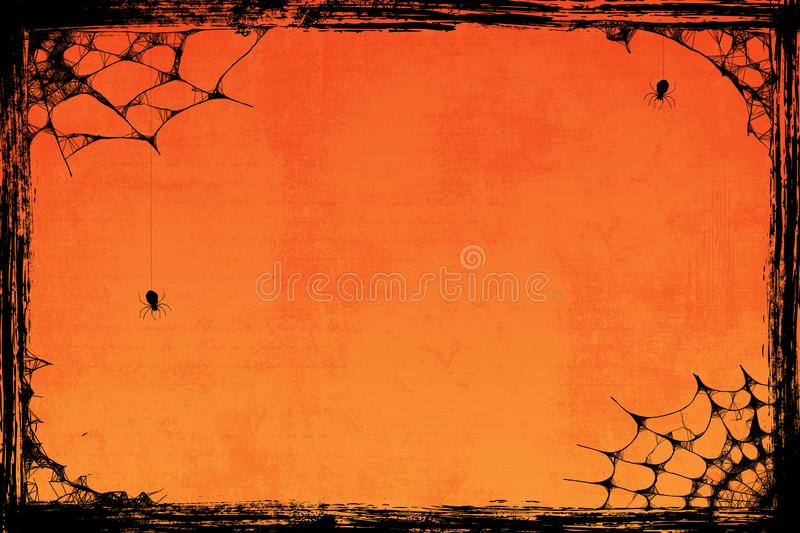 Grunge orange Halloween background with spiders stock illustration