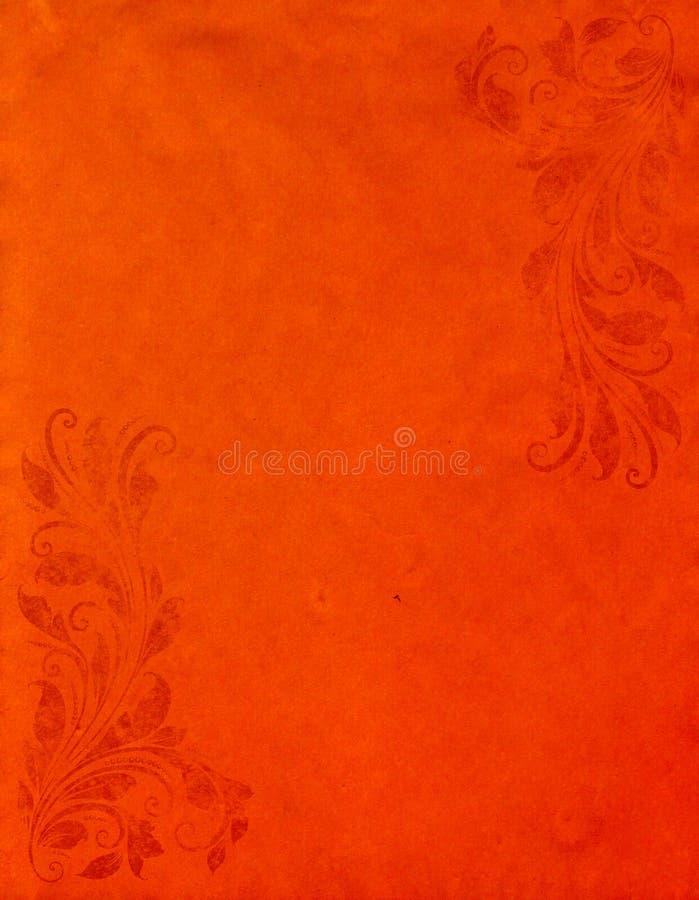 Grunge orange paper background with vintage style. Old grunge orange paper background with vintage victorian style stock photos
