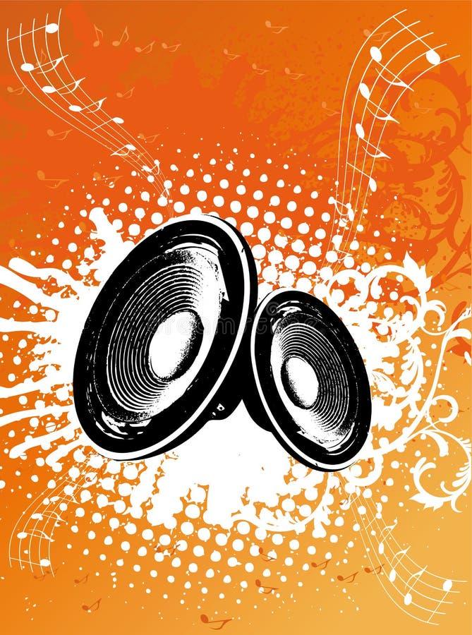 Grunge orange Party-Lautsprecher stock abbildung