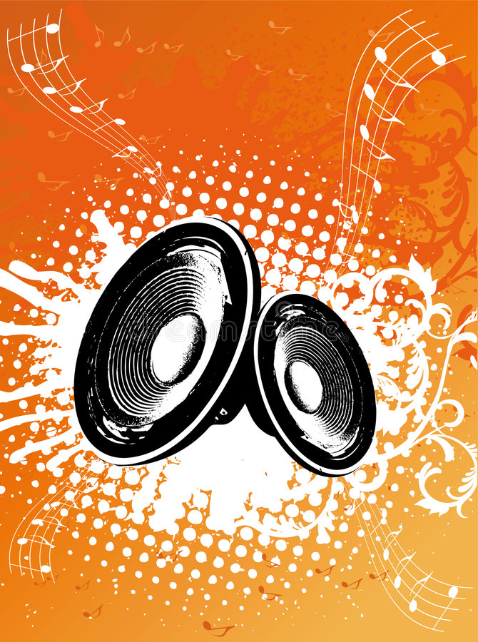 Grunge Orange Party Speaker stock illustration