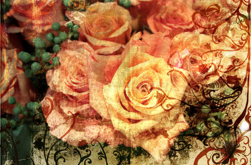 Grunge orange roses vector illustration