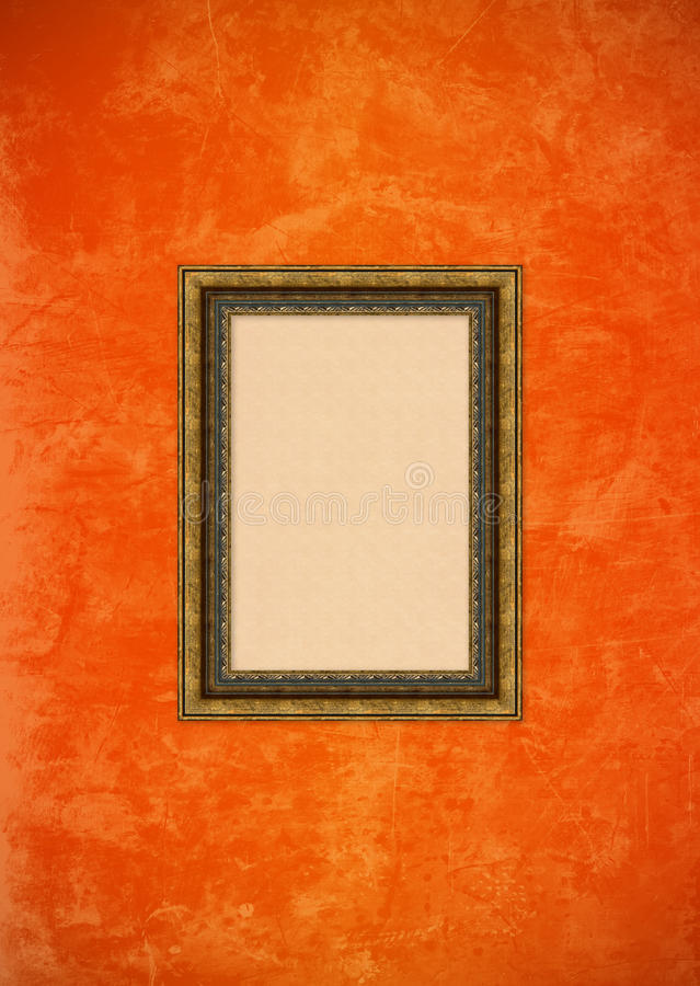 Grunge orange stucco wall with empty picture frame stock illustration