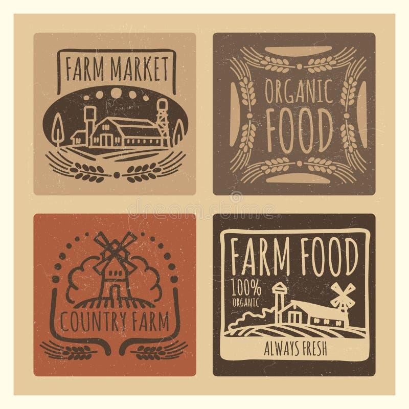 Grunge organic food farm market vintage labels design stock illustration