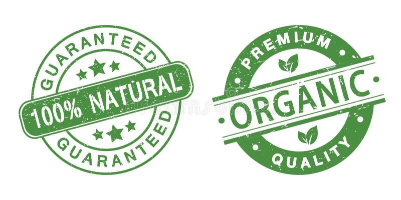 Grunge organicznie znaczki royalty ilustracja