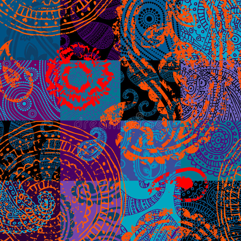 Grunge ornament on the quilt. Seamless background pattern. Grunge ornament on the quilt royalty free illustration