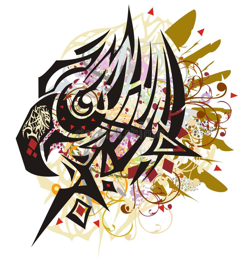Grunge ornate eagle head with colorful splashes stock illustration
