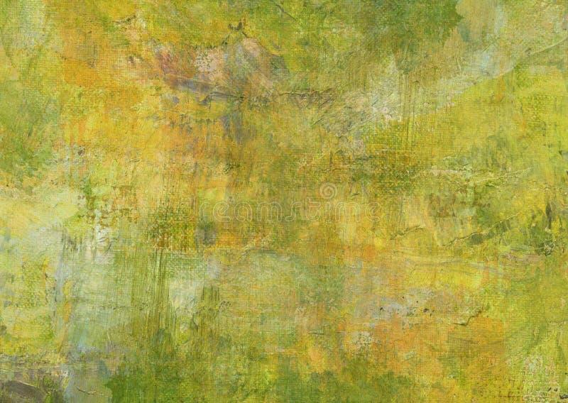 Grunge oscuro verde amarillo Rusty Distorted Decay Old Texture oscuro de Brown de la pintura del extracto de la lona para Autumn  imagen de archivo libre de regalías