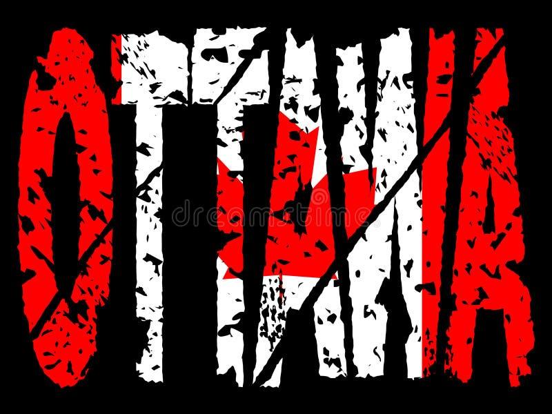 Grunge Ottawa con la bandierina canadese illustrazione di stock