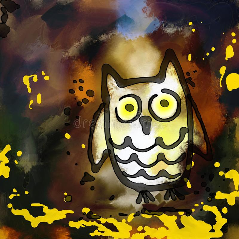 Grunge Owl Painting stock illustrationer