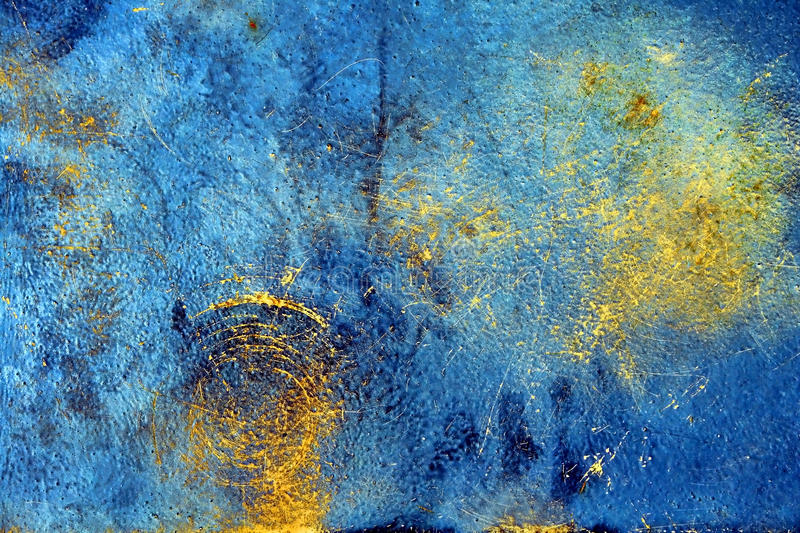 Grunge Oxidized Steel Plate Background. Old rusty grunge oxidized steel metal plate background with blue and yellow reflections stock photo