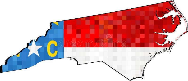Grunge Pólnocna Karolina mapa z flagą wśrodku royalty ilustracja