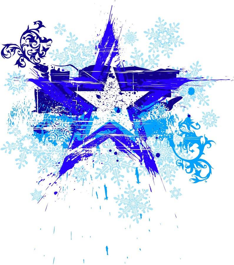 grunge płatków śniegu gwiazda royalty ilustracja