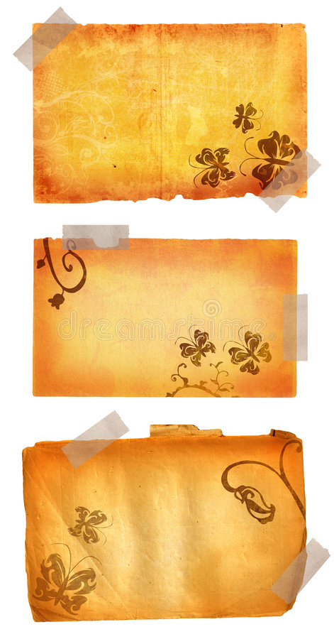 Grunge pages with masking tape stock illustration