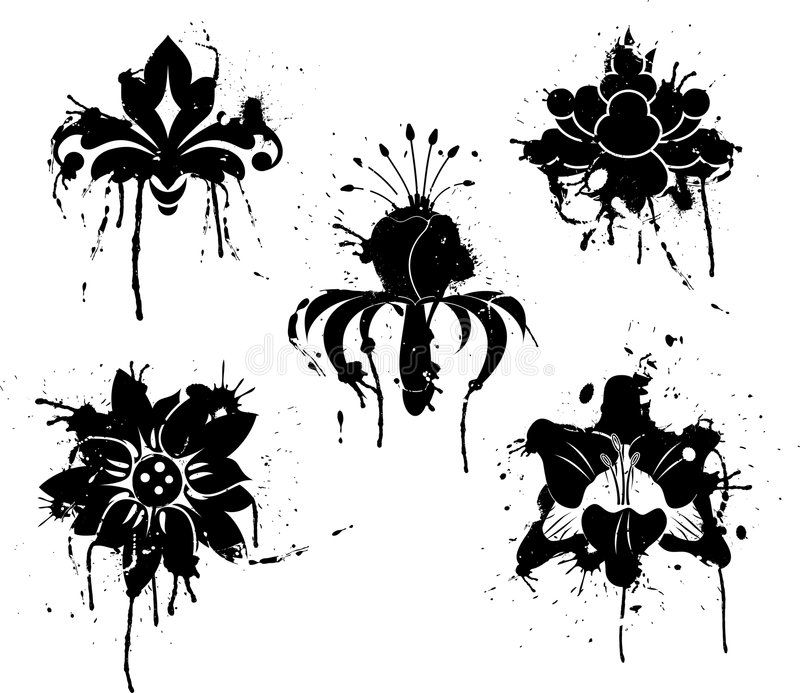 Download Grunge Paint Flower, Element For Design, Vector Stock Vector - Image: 1323918