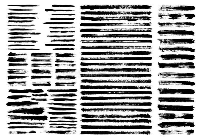 Grunge paint stains brush stroke dabs set. Grunge paint stain brush stroke dabs set. Black vector sumi painting design elements isolated on white background stock illustration