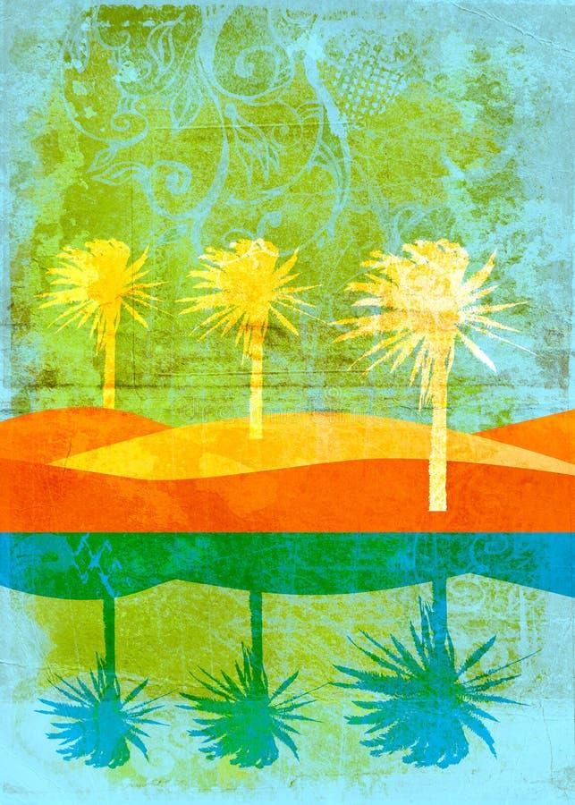 Grunge palms on beach page stock illustration