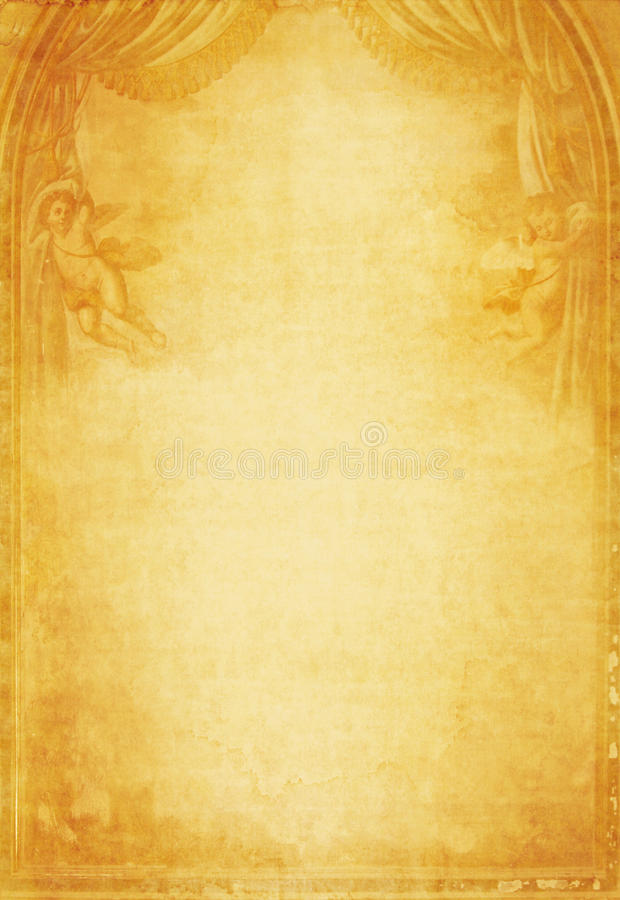 Grunge paper background with angels. Grunge paper background with two angels stock image