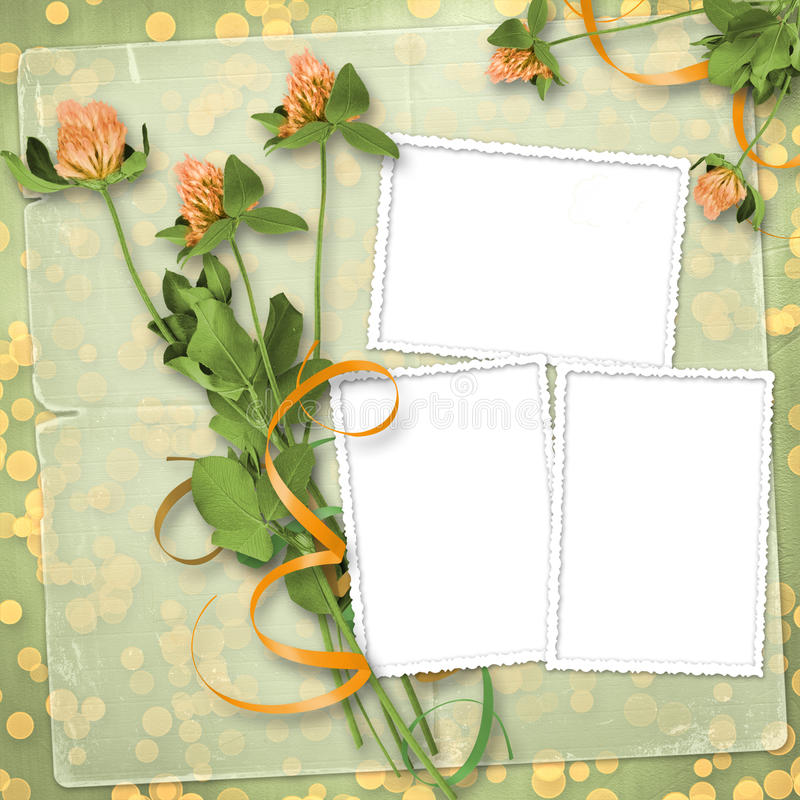Grunge paper with bunch of clover royalty free illustration
