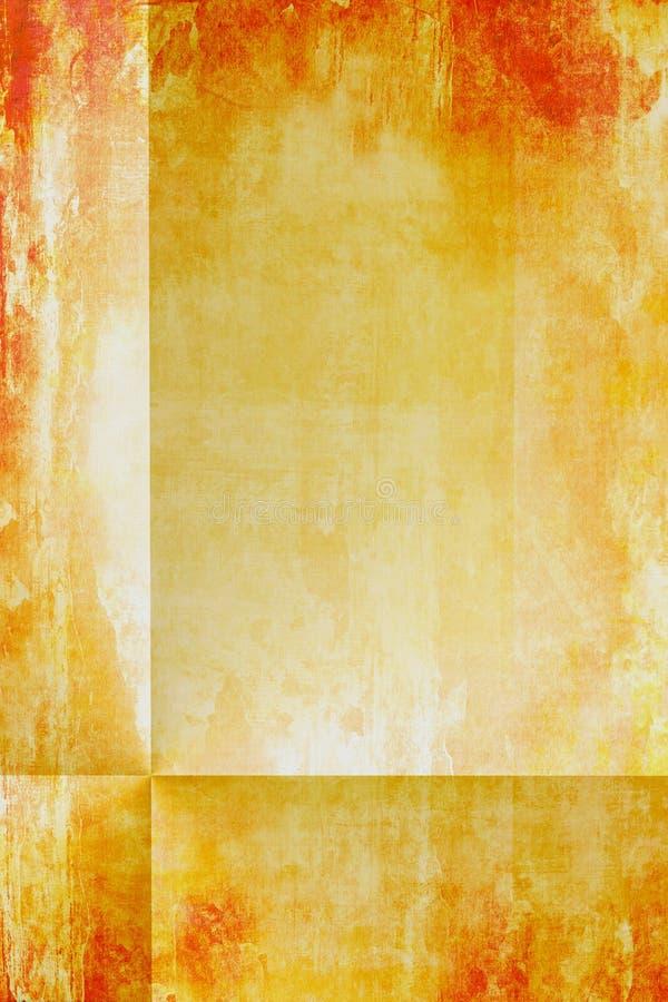 Grunge Paper With Folds. Vintage aged grunge paper in orange reddish golden brown tones and realistic folds for depth royalty free illustration