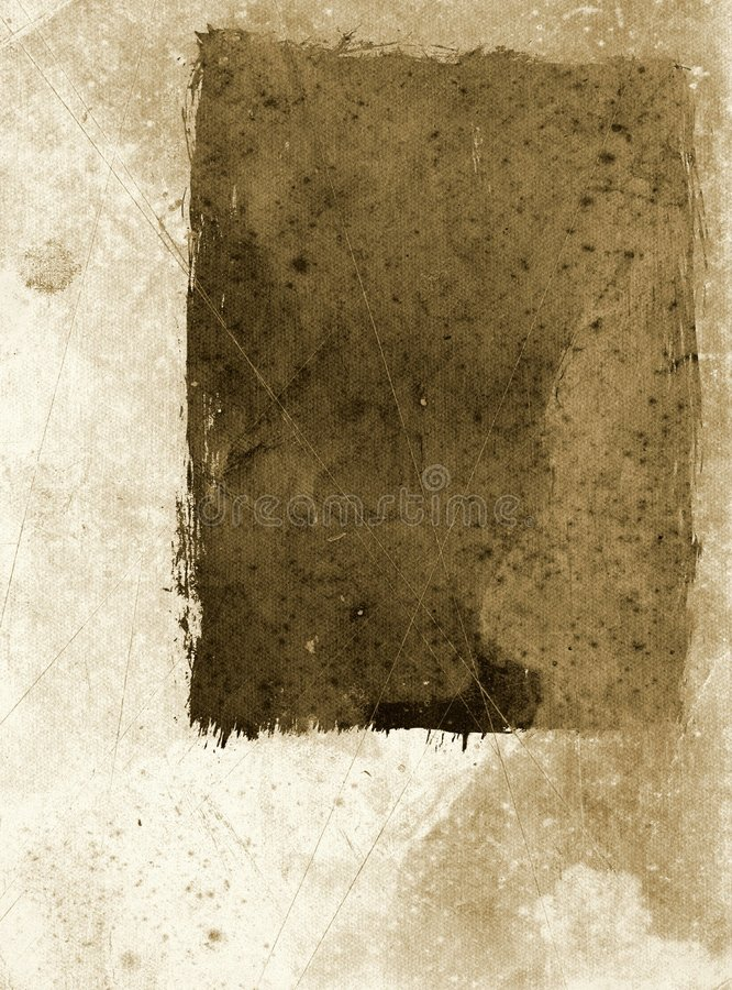 Grunge paper with frame - sepia royalty free stock photo