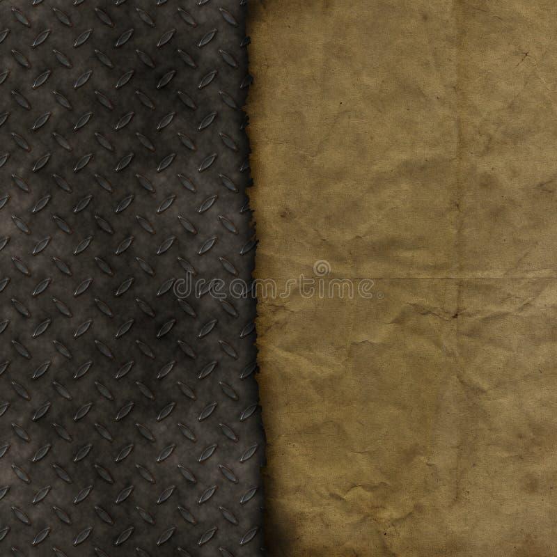 Grunge paper on metallic texture background royalty free illustration