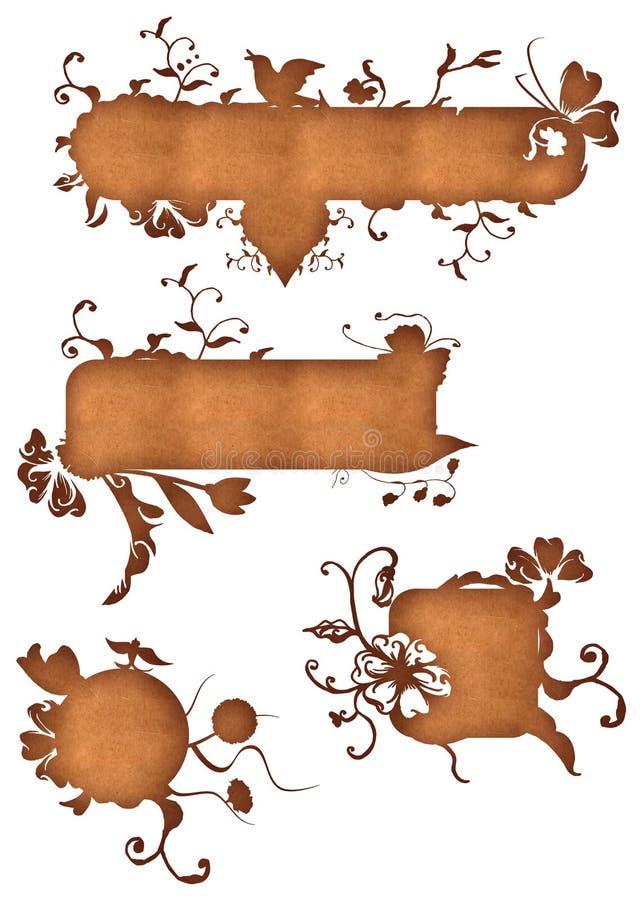 Grunge paper swirl labels stock illustration