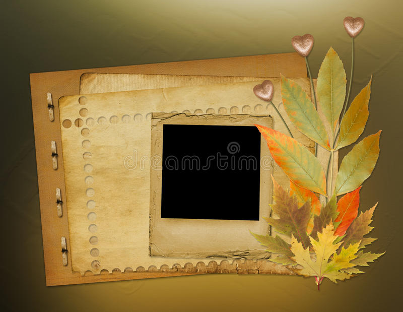 Download Grunge Papers Design With Foliage And Hearts Royalty Free Stock Image - Image: 21864596