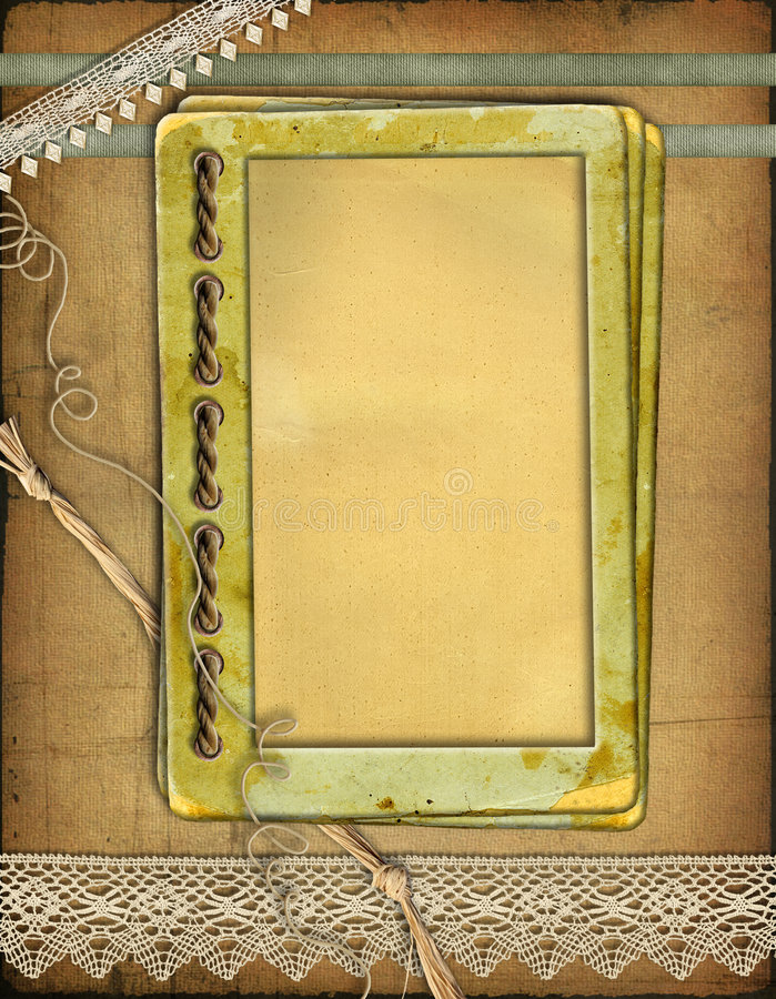 Grunge papers design in scrap-booking style. With laces and cords stock images
