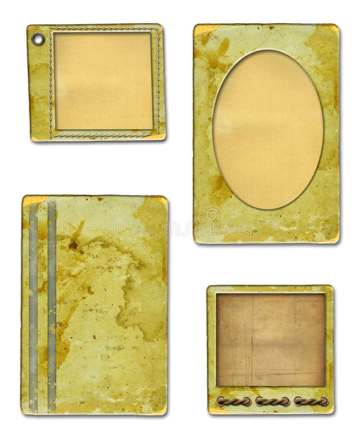 Grunge papers design in scrap-booking style. On a white background stock illustration