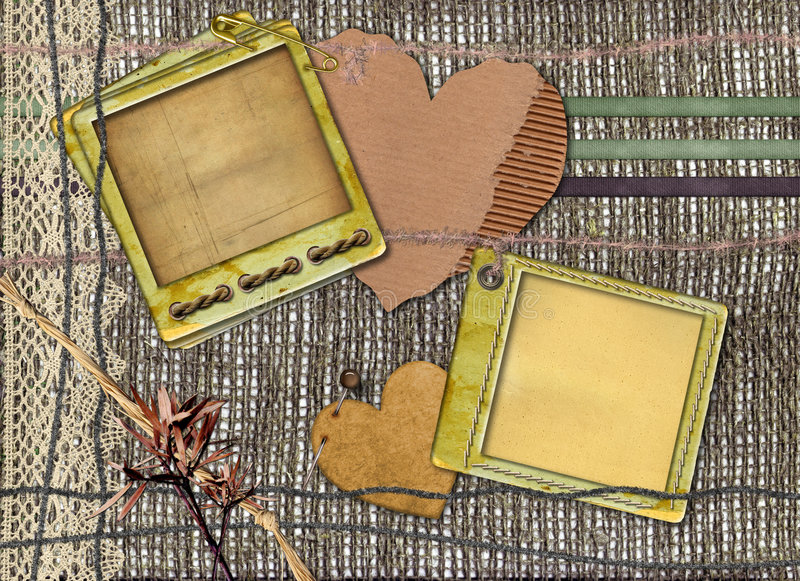 Grunge papers design in scrap-booking style. With laces and cords royalty free stock photos