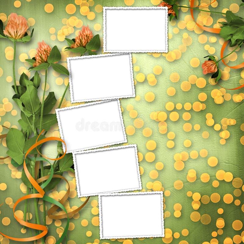 Grunge Papier mit Bündel des Klees lizenzfreie abbildung