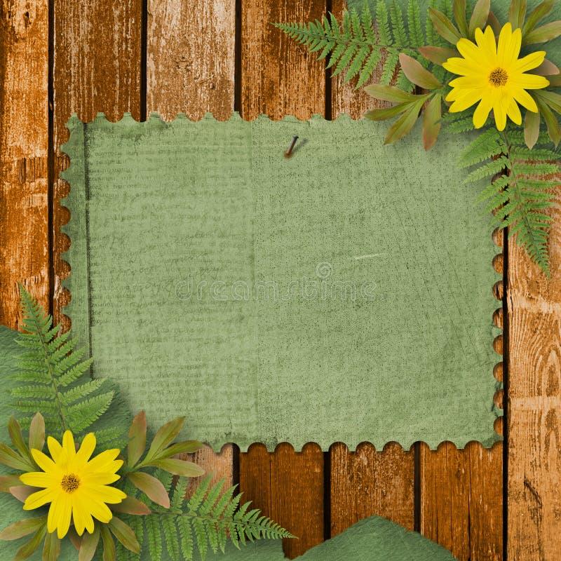 Grunge Papier mit Blumenstrauß vektor abbildung