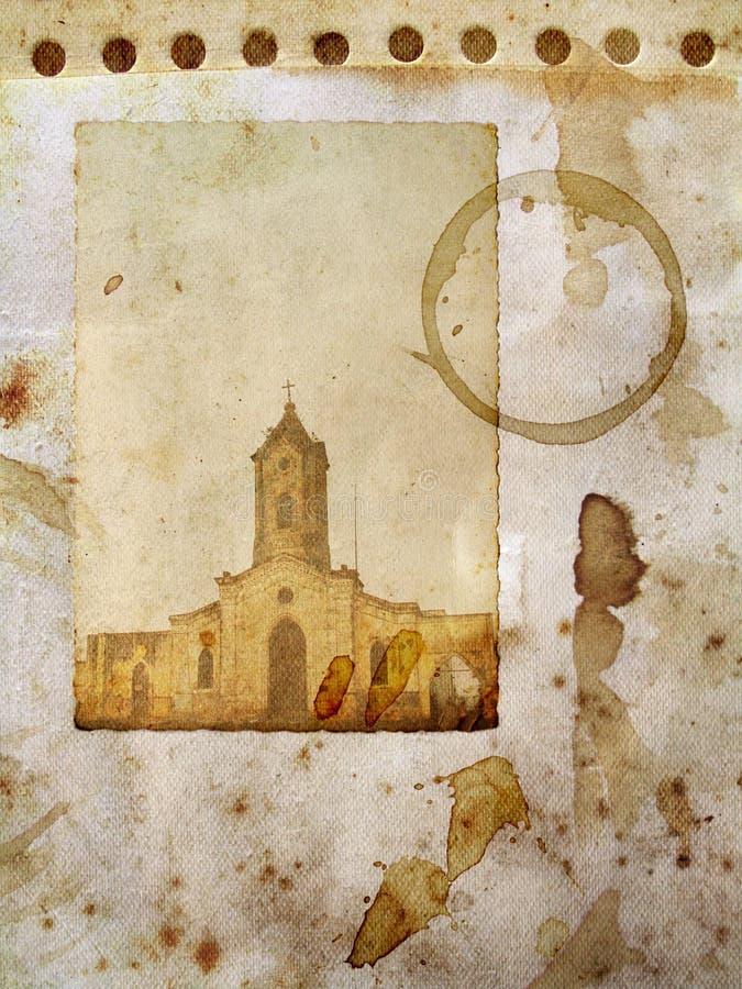 Grunge Papier mit Kirchekarte vektor abbildung