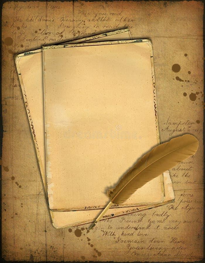 Grunge Papiere und eine Feder stock abbildung