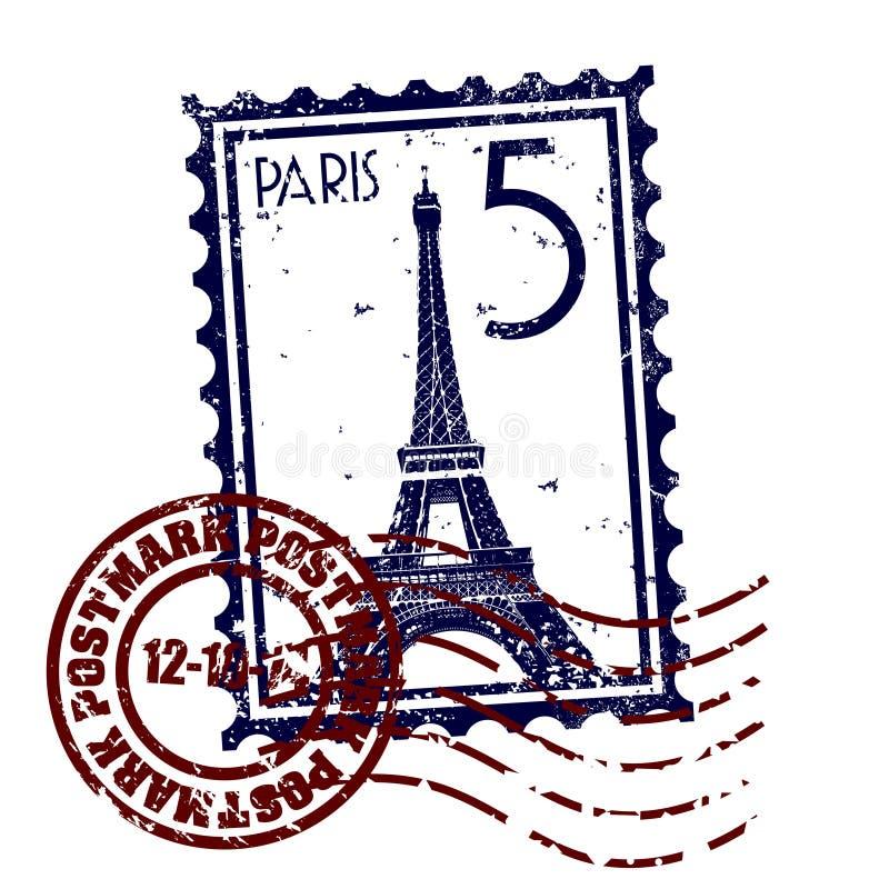 grunge Paris postmark znaczka styl royalty ilustracja