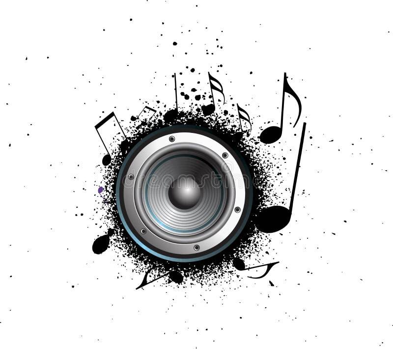 Grunge Party-Lautsprechermusikanmerkungen stock abbildung