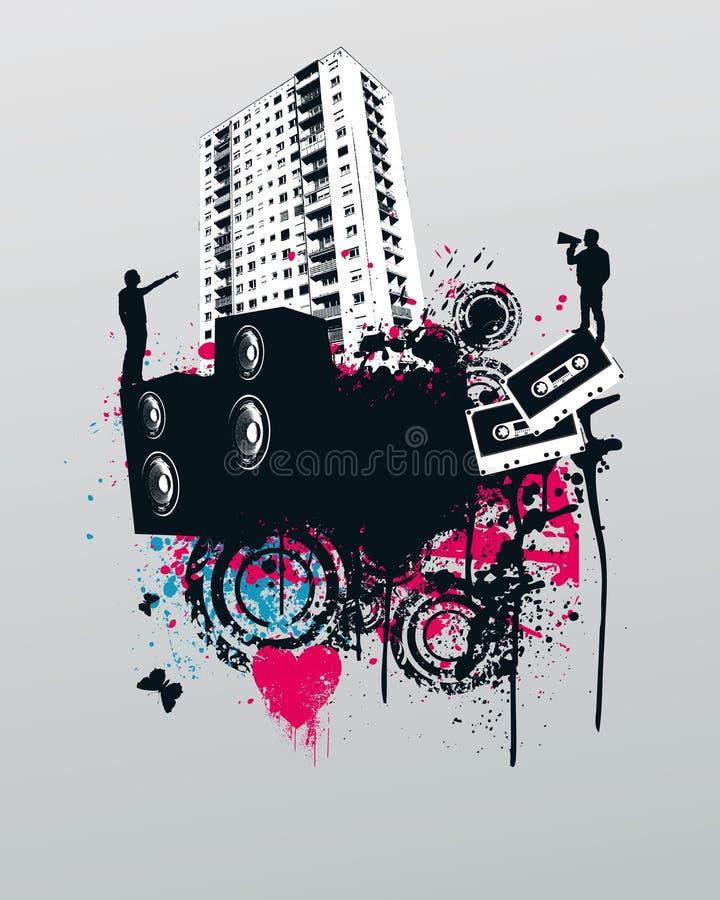Grunge Party-Musik-Stadt vektor abbildung