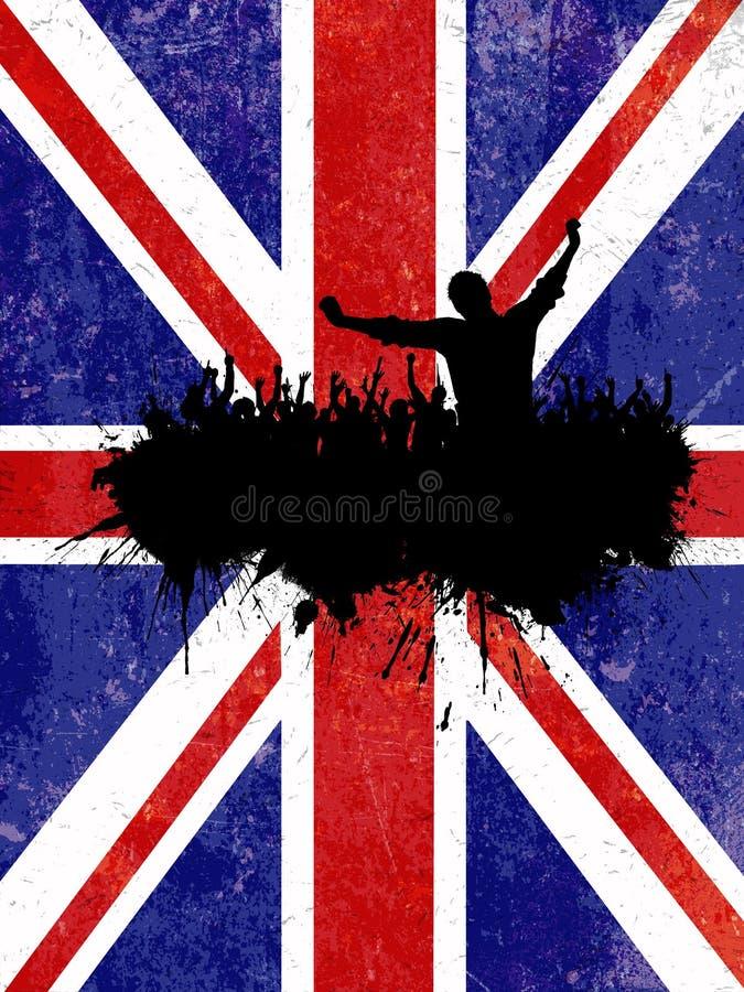 Grunge partyjny tło z Union Jack flaga ilustracja wektor